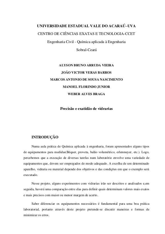UNIVERSIDADE ESTADUAL VALE DO ACARAÚ–UVA CENTRO DE CIÊNCIAS EXATAS E TECNOLOGIA-CCET Engenharia Civil - Química aplicada à...