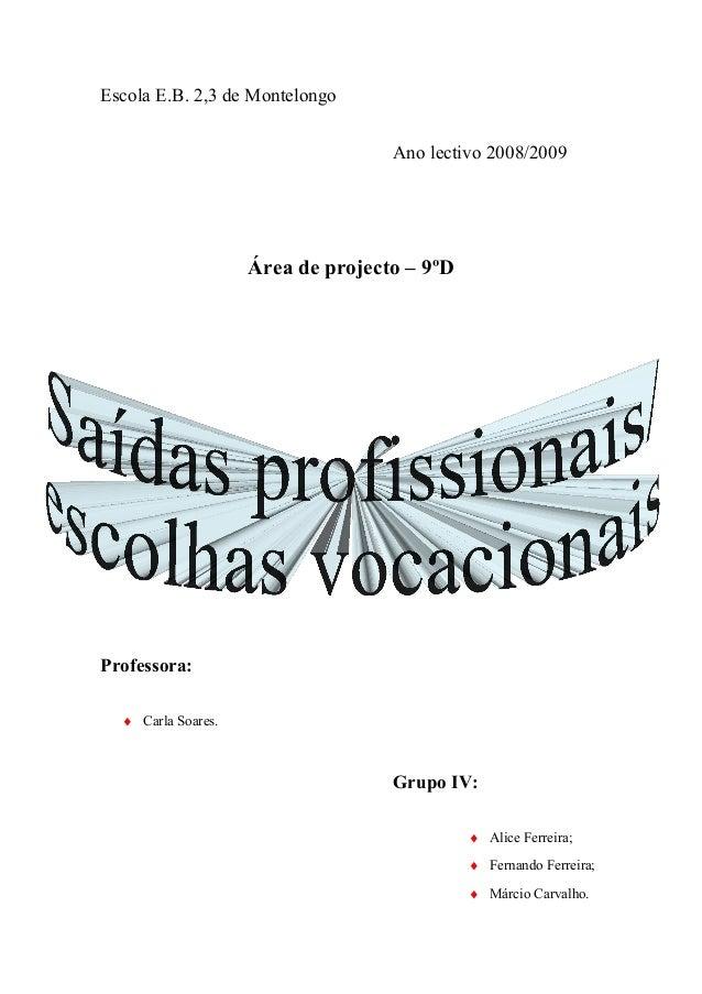 Escola E.B. 2,3 de Montelongo Ano lectivo 2008/2009 Área de projecto – 9ºD Professora: ♦ Carla Soares. Grupo IV: ♦ Alice F...
