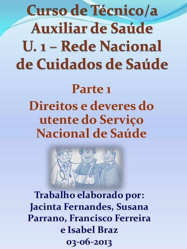 Parte 1 Direitos e deveres do utente do Serviço Nacional de Saúde Trabalho elaborado por: Jacinta Fernandes, Susana Parran...