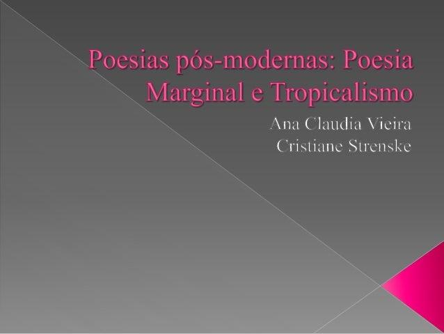 A Poesia Marginal, também conhecida como Geração Mimeógrafo,  surge na década de 70 no Brasil, de forma a representar o mo...