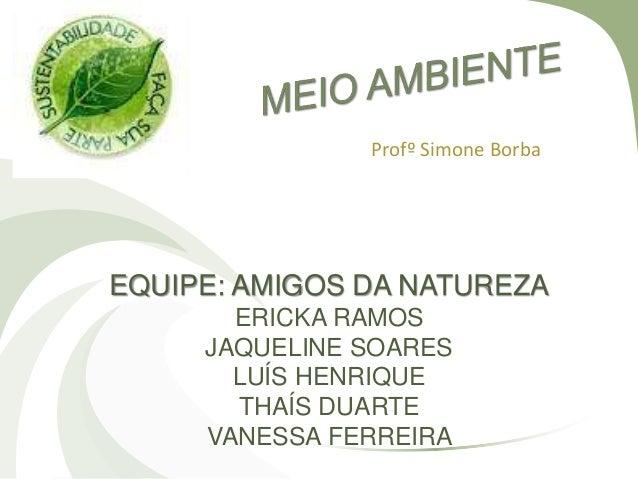 Profº Simone Borba EQUIPE: AMIGOS DA NATUREZA ERICKA RAMOS JAQUELINE SOARES LUÍS HENRIQUE THAÍS DUARTE VANESSA FERREIRA