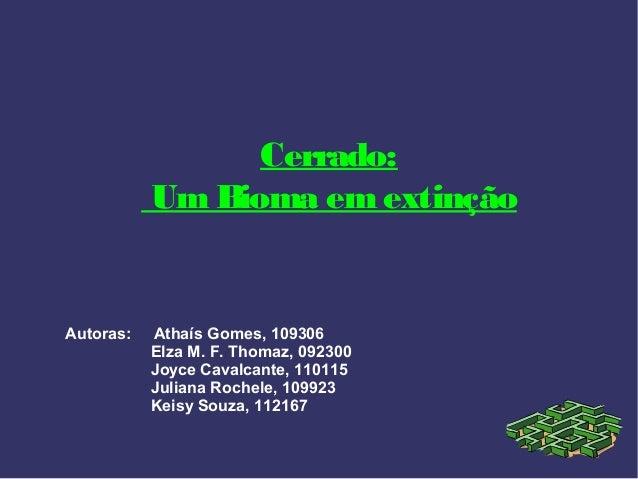 Cerrado:           Um Bioma em extinçãoAutoras:   Athaís Gomes, 109306           Elza M. F. Thomaz, 092300           Joyce...