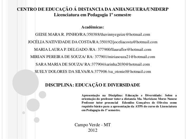 CENTRO DE EDUCAÇÃO Á DISTANCIA DA ANHANGUERA/UNIDERP  Licenciatura em Pedagogia 1º semestre  Acadêmicas:  GEISE MARA R. PI...