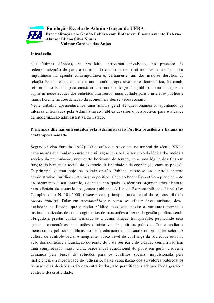 Fundação Escola de Administração da UFBA         Especialização em Gestão Pública com Ênfase em Financiamento Externo     ...