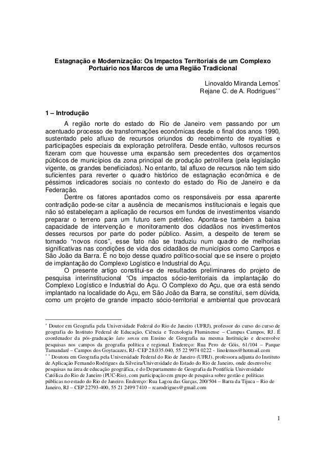 Estagnação e Modernização: Os Impactos Territoriais de um Complexo             Portuário nos Marcos de uma Região Tradicio...