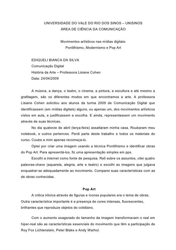 UNIVERSIDADE DO VALE DO RIO DOS SINOS – UNISINOS                          ÁREA DE CIÊNCIA DA COMUNICAÇÃO                  ...
