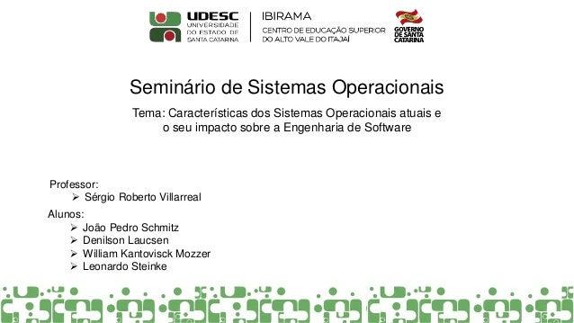 Seminário de Sistemas Operacionais Professor:  Sérgio Roberto Villarreal Alunos:  João Pedro Schmitz  Denilson Laucsen ...