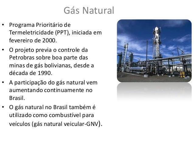 Gás Natural • Programa Prioritário de Termeletricidade (PPT), iniciada em fevereiro de 2000. • O projeto previa o controle...