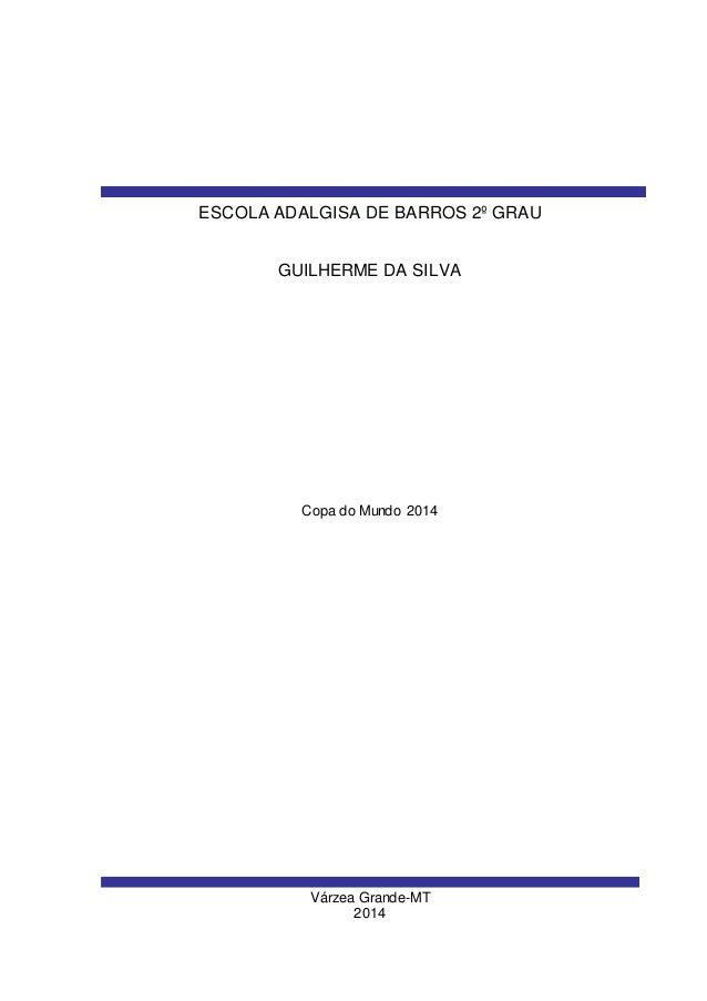 Várzea Grande-MT 2014 GUILHERME DA SILVA ESCOLA ADALGISA DE BARROS 2º GRAU Copa do Mundo 2014