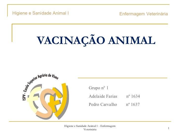 Higiene e Sanidade Animal I                                        Enfermagem Veterinária           VACINAÇÃO ANIMAL      ...