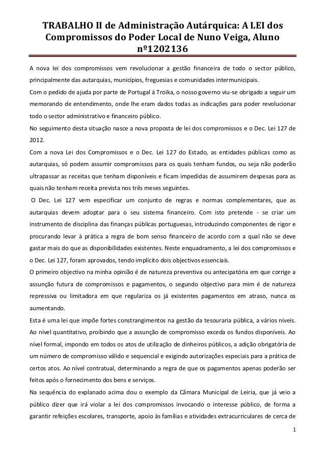 TRABALHO II de Administração Autárquica: A LEI dos     Compromissos do Poder Local de Nuno Veiga, Aluno                   ...
