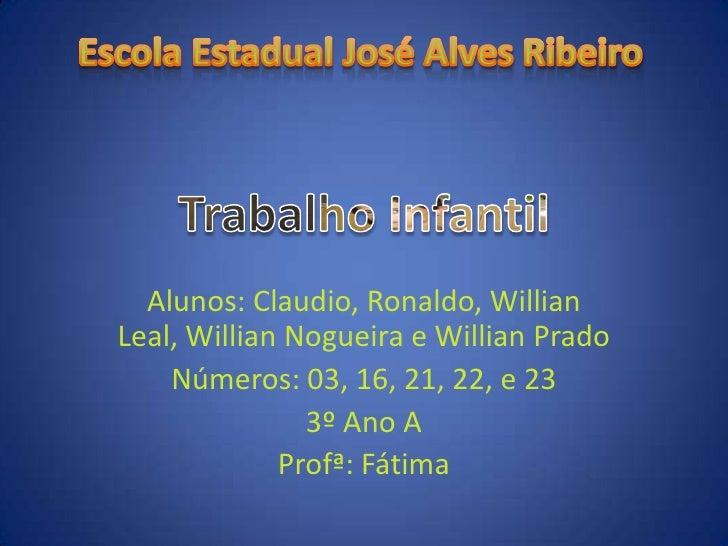 Alunos: Claudio, Ronaldo, WillianLeal, Willian Nogueira e Willian Prado    Números: 03, 16, 21, 22, e 23               3º ...