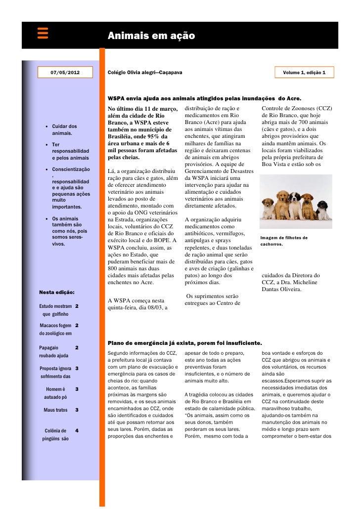 Animais em ação     07/05/2012        Colégio Olivia alegri—Caçapava                                             Volume 1,...