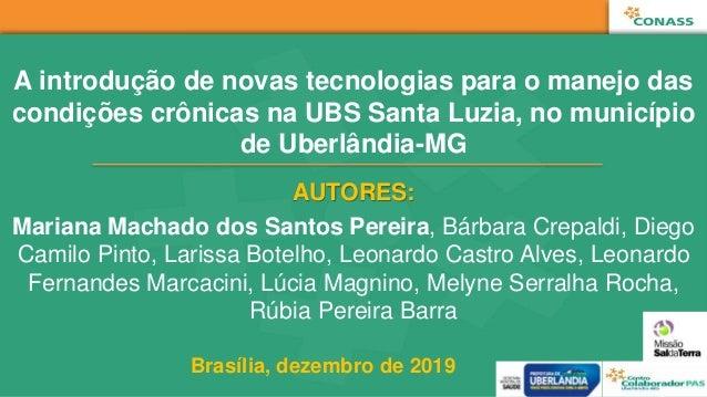A introdução de novas tecnologias para o manejo das condições crônicas na UBS Santa Luzia, no município de Uberlândia-MG A...