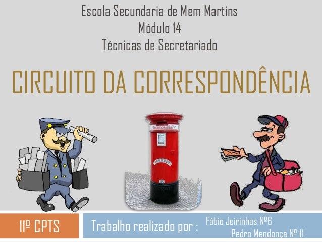 CIRCUITO DA CORRESPONDÊNCIA Trabalho realizado por : Escola Secundaria de Mem Martins Módulo 14 Técnicas de Secretariado 1...