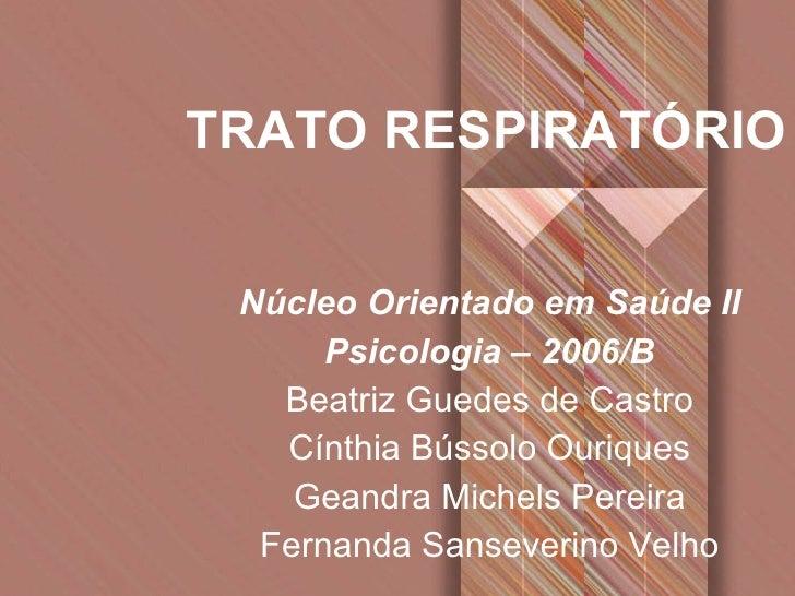 TRATO RESPIRATÓRIO Núcleo Orientado em Saúde II Psicologia – 2006/B Beatriz Guedes de Castro Cínthia Bússolo Ouriques Gean...