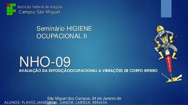 Seminário HIGIENE OCUPACIONAL II  NHO-09  AVALIAÇÃO DA EXPOSIÇÃOOCUPACIONAL A VIBRAÇÕES DE CORPO INTEIRO  São Miguel dos C...