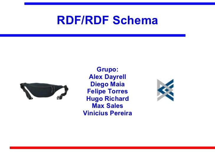 RDF/RDF Schema       Grupo:     Alex Dayrell     Diego Maia    Felipe Torres    Hugo Richard      Max Sales   Vinicius Per...