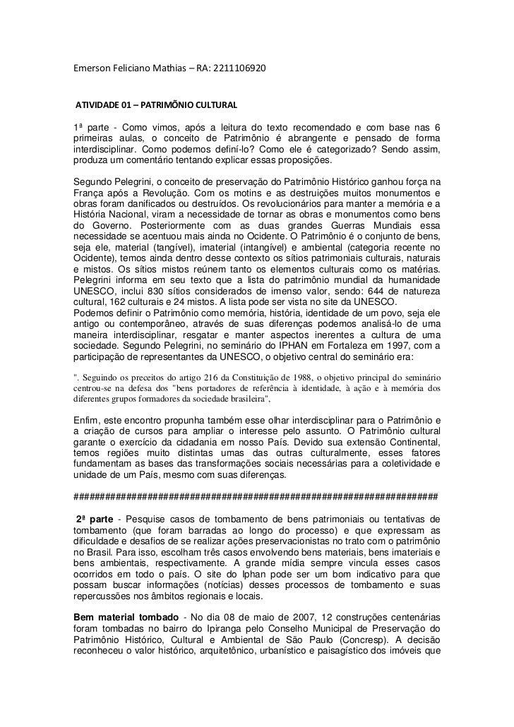 Emerson Feliciano Mathias – RA: 2211106920ATIVIDADE 01 – PATRIMÕNIO CULTURAL1ª parte - Como vimos, após a leitura do texto...