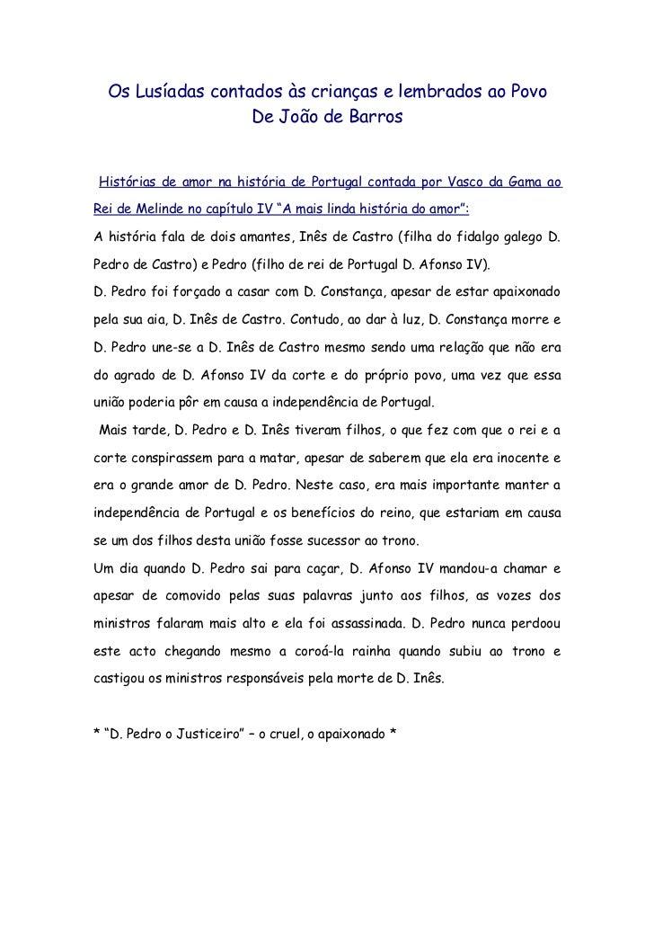 Os Lusíadas contados às crianças e lembrados ao Povo                   De João de BarrosHistórias de amor na história de P...