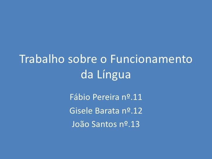Trabalho sobre o Funcionamento da Língua<br />Fábio Pereira nº.11<br />Gisele Barata nº.12<br />João Santos nº.13<br />