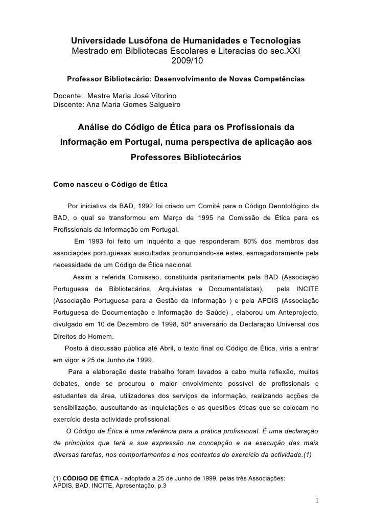 Universidade Lusófona de Humanidades e Tecnologias       Mestrado em Bibliotecas Escolares e Literacias do sec.XXI        ...