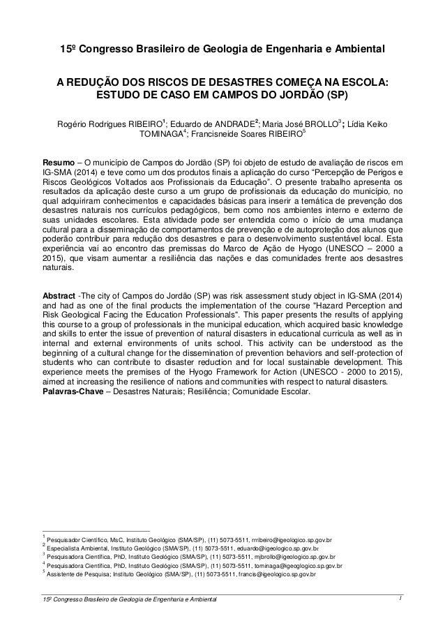 15º Congresso Brasileiro de Geologia de Engenharia e Ambiental 1 0 1 15º Congresso Brasileiro de Geologia de Engenharia e ...