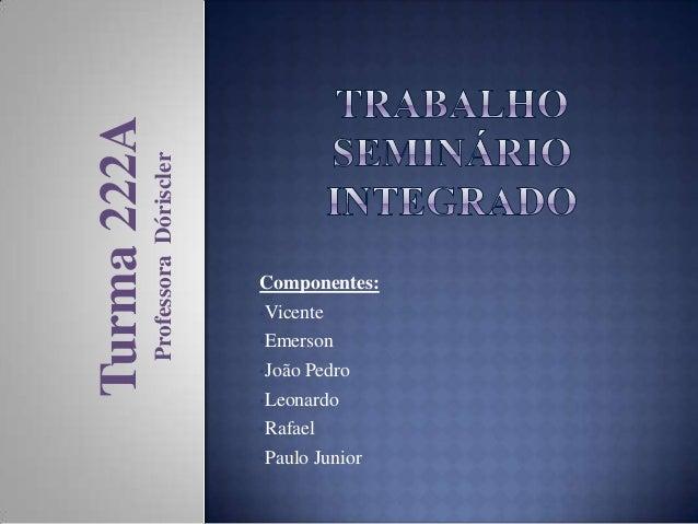 Professora Dóriscler  Turma 222A  Componentes: •Vicente •Emerson •João Pedro •Leonardo •Rafael •Paulo Junior