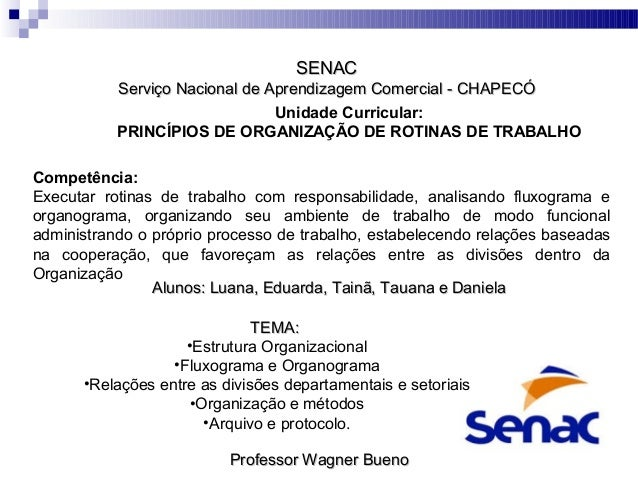 SENAC  Serviço Nacional de Aprendizagem Comercial - CHAPECÓ Unidade Curricular: PRINCÍPIOS DE ORGANIZAÇÃO DE ROTINAS DE TR...