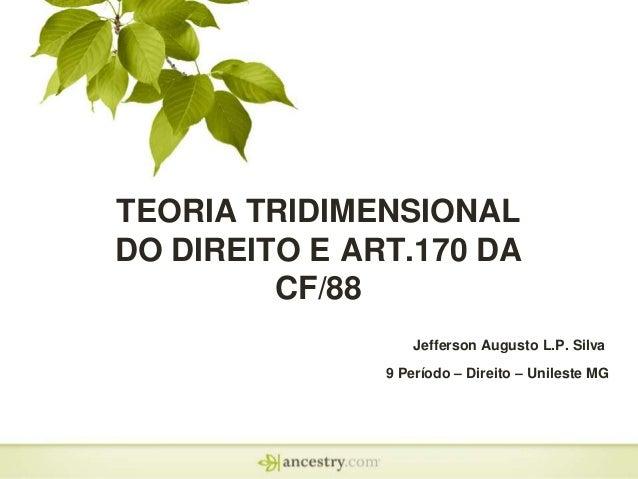 TEORIA TRIDIMENSIONAL DO DIREITO E ART.170 DA CF/88 Jefferson Augusto L.P. Silva 9 Período – Direito – Unileste MG