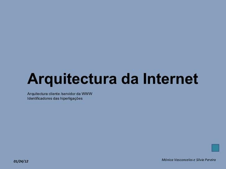 01/24/12 Mónica Vasconcelos e Sílvia Pereira Arquitectura da Internet Arquitectura cliente /servidor da WWW Identificadore...