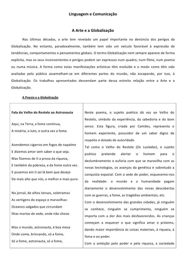 Linguagem e Comunicação                                             A Arte e a Globalização        Nas últimas décadas, a ...