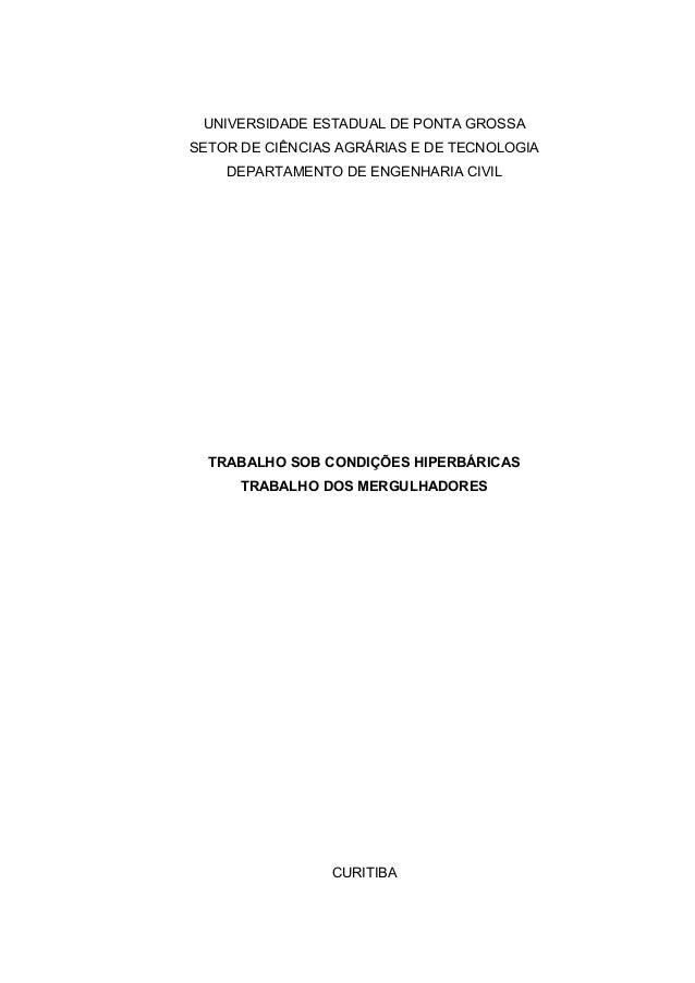 UNIVERSIDADE ESTADUAL DE PONTA GROSSA  SETOR DE CIÊNCIAS AGRÁRIAS E DE TECNOLOGIA  DEPARTAMENTO DE ENGENHARIA CIVIL  TRABA...
