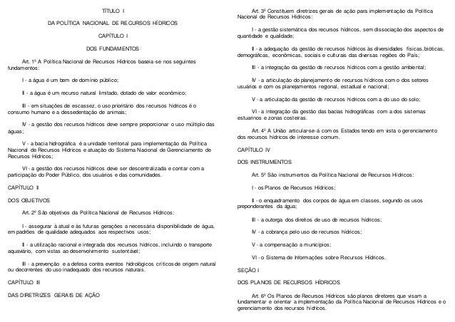 TÍTULO I DA POLÍTICA NACIONAL DE RECURSOS HÍDRICOS CAPÍTULO I DOS FUNDAMENTOS Art. 1º A Política Nacional de Recursos Hídr...