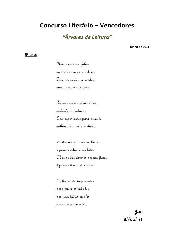 """Concurso Literário – Vencedores                  """"Árvores de Leitura""""                                                     ..."""