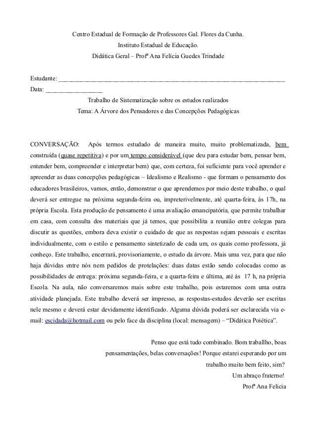 Centro Estadual de Formação de Professores Gal. Flores da Cunha. Instituto Estadual de Educação. Didática Geral – Profª An...