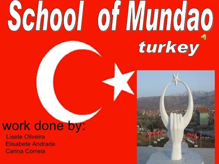 work done by:     Lisete Oliveira   Elisabete Andrade   Carina Correia   School  of Mundao turkey