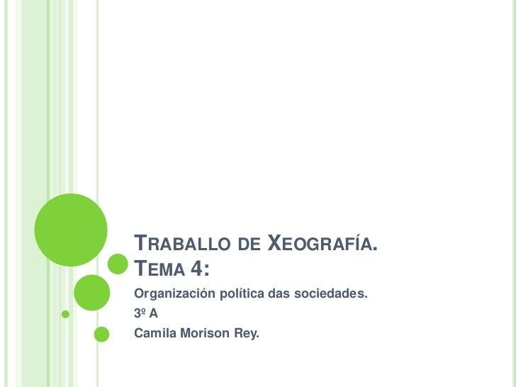 TRABALLO DE XEOGRAFÍA.TEMA 4:Organización política das sociedades.3º ACamila Morison Rey.