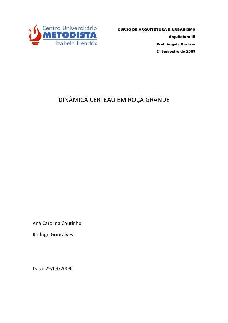 CURSO DE ARQUITETURA E URBANISMO                                                   Arquitetura III                        ...