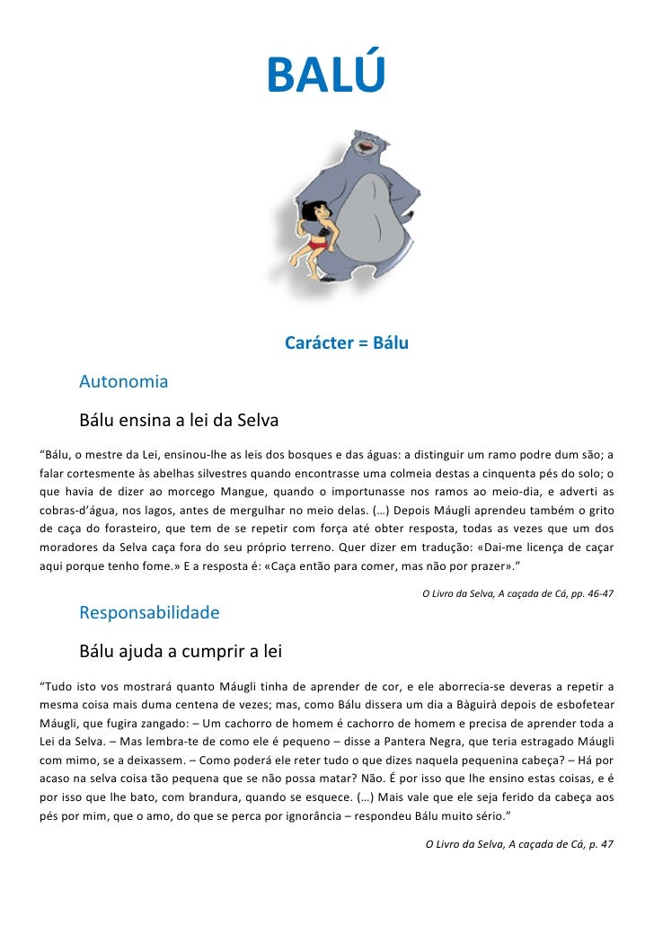 "BALÚ                                                 Carácter = Bálu        Autonomia        Bálu ensina a lei da Selva ""B..."
