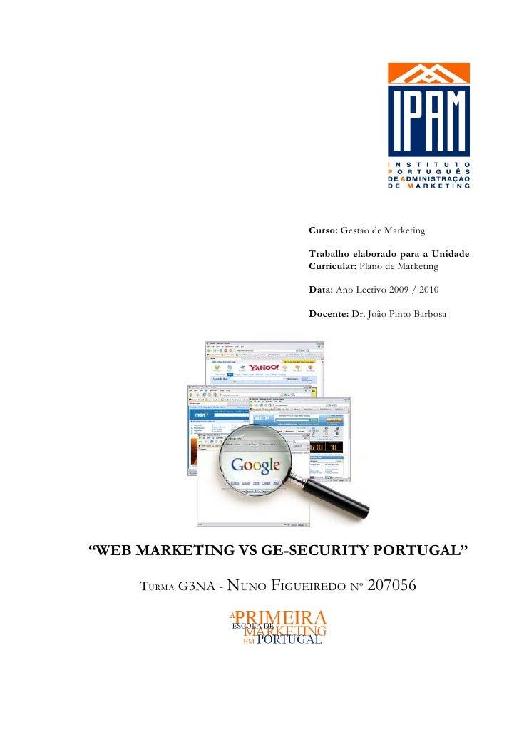 Curso: Gestão de Marketing                              Trabalho elaborado para a Unidade                              Cur...