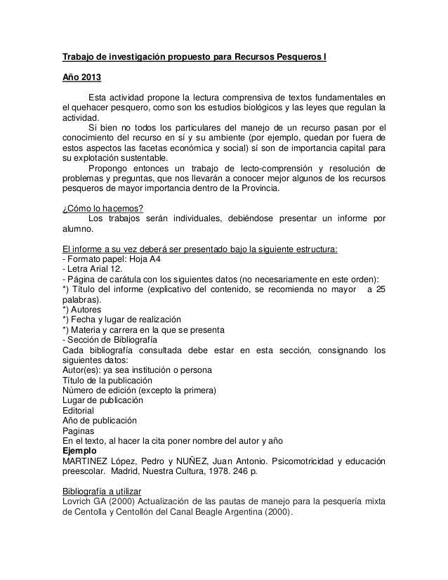 Trabajo de investigación propuesto para Recursos Pesqueros I Año 2013 Esta actividad propone la lectura comprensiva de tex...