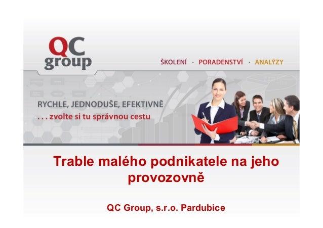 Trable malého podnikatele na jeho provozovně QC Group, s.r.o. Pardubice