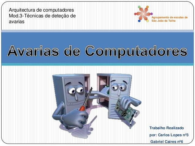 Arquitectura de computadores Mod.3-Técnicas de deteção de avarias Agrupamento de escolas de São João da Talha Trabalho Rea...