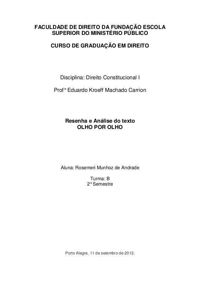 FACULDADE DE DIREITO DA FUNDAÇÃO ESCOLA SUPERIOR DO MINISTÉRIO PÚBLICO  CURSO DE GRADUAÇÃO EM DIREITO  Disciplina: Direito...