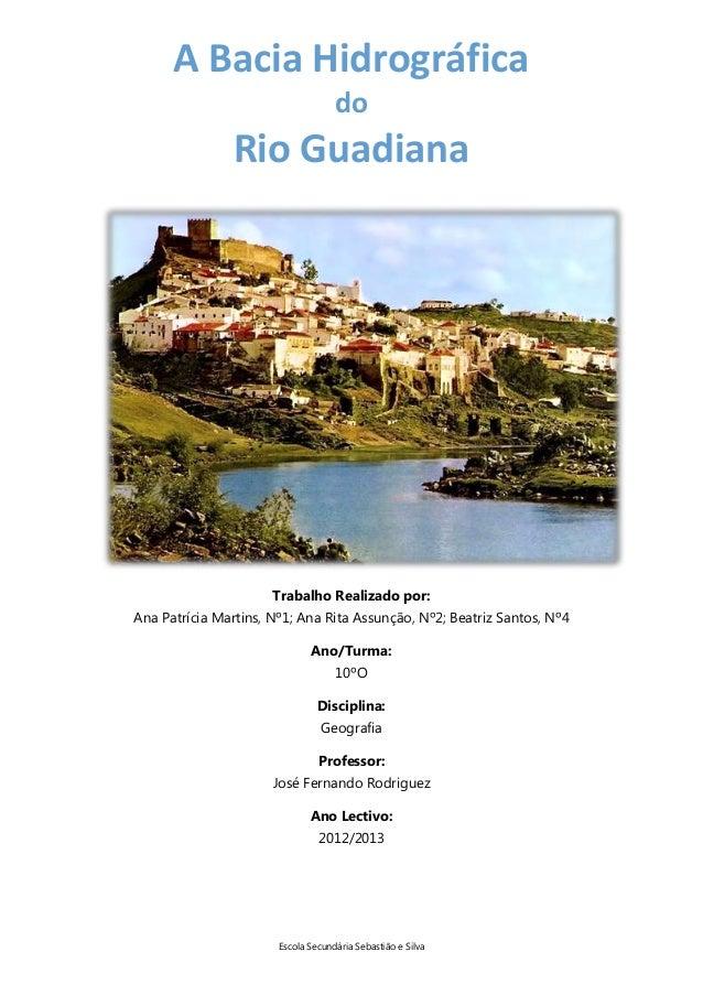 A Bacia Hidrográfica do  Rio Guadiana  Trabalho Realizado por: Ana Patrícia Martins, Nº1; Ana Rita Assunção, Nº2; Beatriz ...