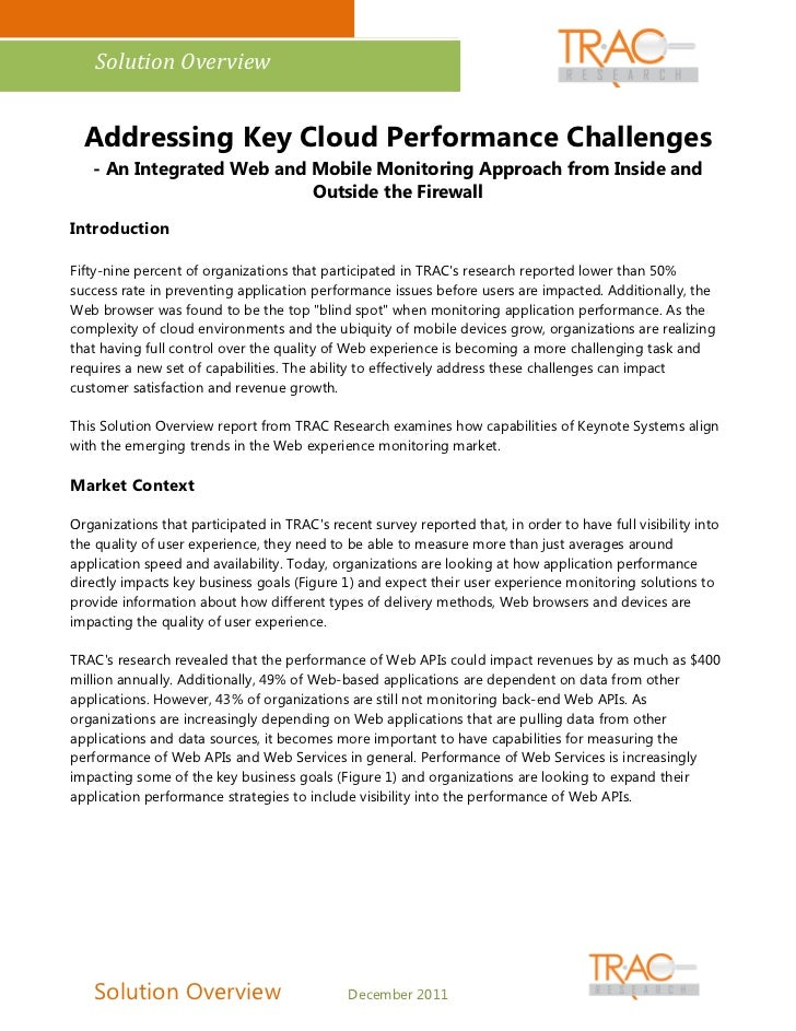 Solution Overview  Addressing Key Cloud Performance Challenges   - An Integrated Web and Mobile Monitoring Approach from I...
