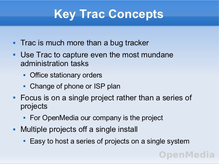 trac project management Project summary trac is an enhanced wiki and issue tracking system for software development projects trac uses a minimalistic approach to web-based software project management.