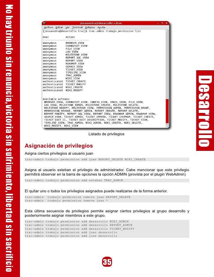 Listado de privilegios   Asignación de privilegios Asigna ciertos privilegios al usuario juan trac-admin trabajo permissio...