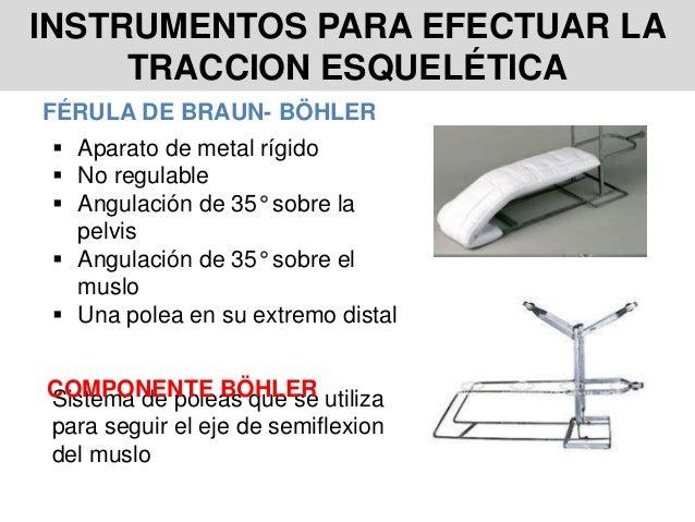 INSTRUMENTOS PARA EFECTUAR LA TRACCION ESQUELÉTICA FÉRULA DE BRAUN- BÖHLER  Aparato de metal rígido  No regulable  Angu...